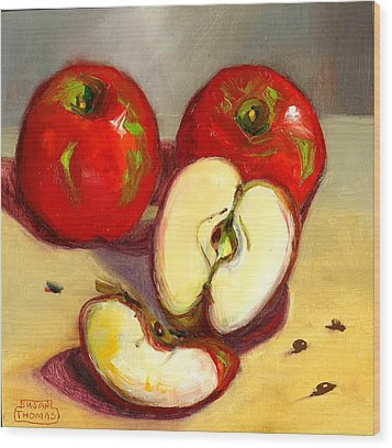 Wood Print featuring the painting Apples by Susan Thomas