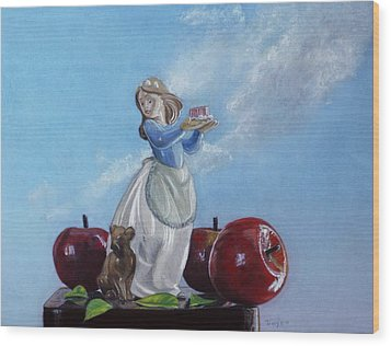 Apples With Figurine Wood Print by Robert Tracy