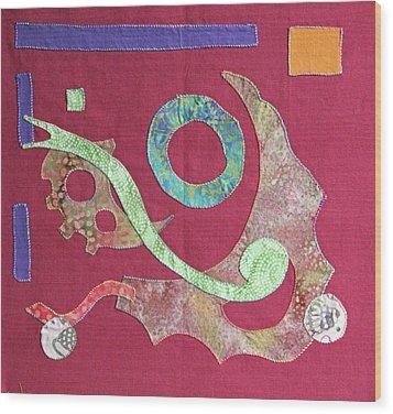 Applique 6 Wood Print by Eileen Hale