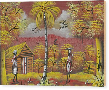 Approaching On The Path Wood Print by Herold Alvares