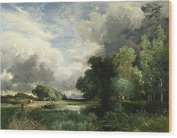 Approaching Storm Clouds Wood Print by Thomas Moran