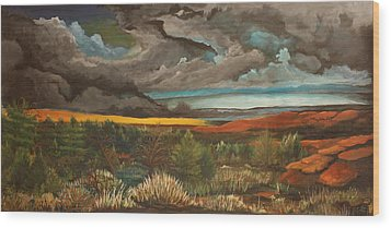 Approaching Storm Wood Print by Shannon Rains