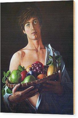 Apres Caravaggio - Garcon Avec Le Panier Du Fruit Wood Print