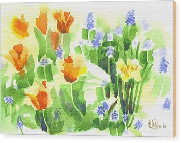 Wood Print featuring the painting April Flowers 2 by Kip DeVore