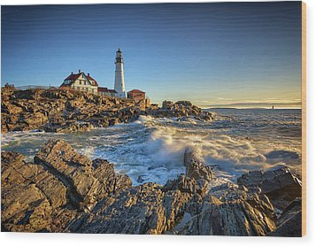 Wood Print featuring the photograph April Morning At Portland Head by Rick Berk