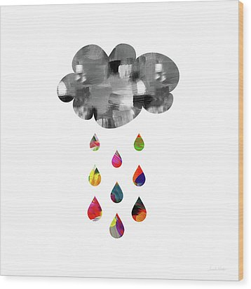 Wood Print featuring the mixed media April Showers- Art By Linda Woods by Linda Woods
