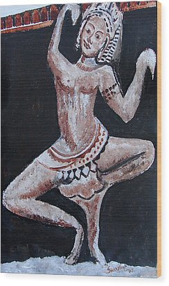 Wood Print featuring the painting Apsara-2 by Anand Swaroop Manchiraju