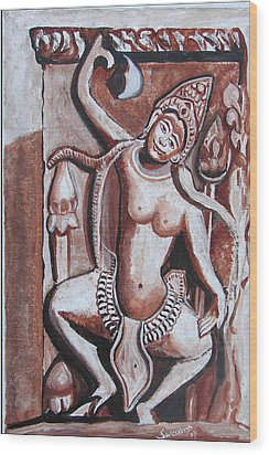 Wood Print featuring the painting Apsara-3 by Anand Swaroop Manchiraju