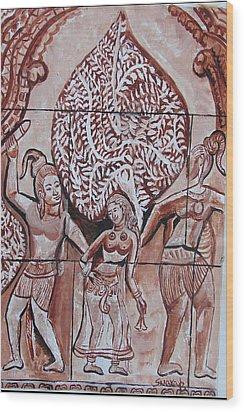 Wood Print featuring the painting Apsara Be.ing Taken Away by Anand Swaroop Manchiraju