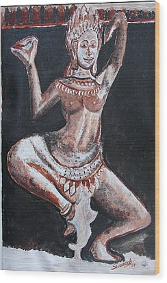 Wood Print featuring the painting Apsara Dancing by Anand Swaroop Manchiraju