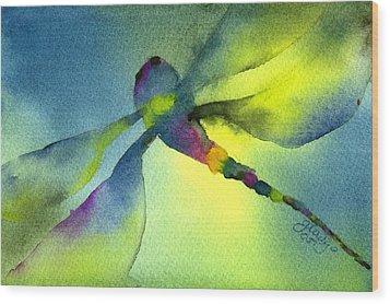 Aqua Dragonfly Wood Print by Gladys Folkers