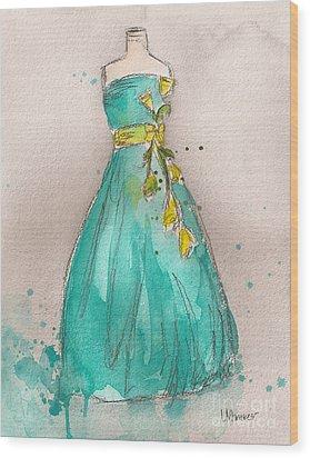 Aqua Dress Wood Print by Lauren Maurer