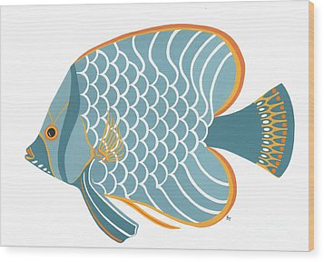 Aqua Mid Century Fish Wood Print
