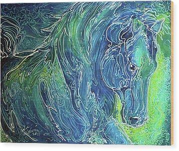 Aqua Mist Equine Abstract Wood Print by Marcia Baldwin
