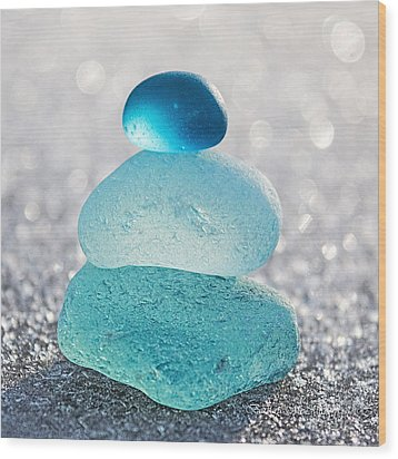 Aquamarine Ice Wood Print