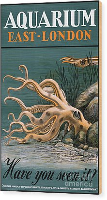 Aquarium Octopus Vintage Poster Restored Wood Print