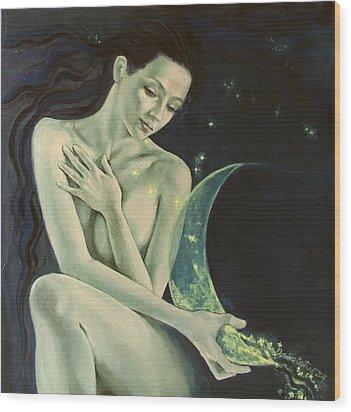 Aquarius From  Zodiac Signs Series Wood Print by Dorina  Costras