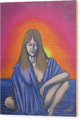 Wood Print featuring the drawing Aquarius by Michael  TMAD Finney
