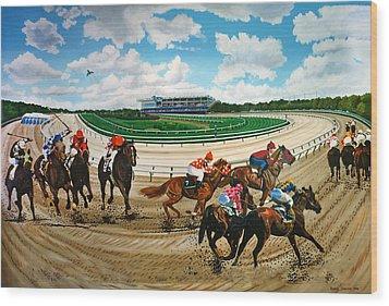 Aqueduct Racetrack Wood Print by Bonnie Siracusa