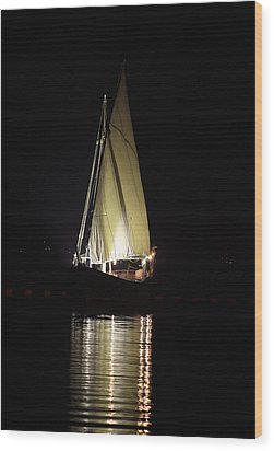 Arab Dhow At Night Wood Print by Paul Cowan