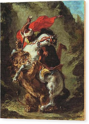 Wood Print featuring the painting Arab Horseman Attacked By A Lion by Eugene Delacroix