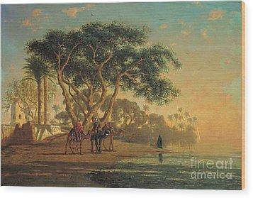 Arab Oasis Wood Print by Narcisse Berchere