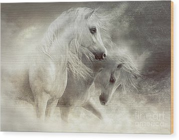 Wood Print featuring the digital art Arabian Horses Sandstorm by Shanina Conway