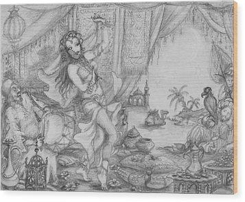 Arabian Nights Study Wood Print by Yvonne Ayoub