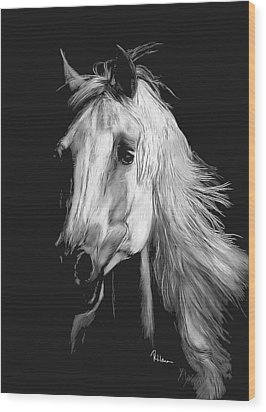 Wood Print featuring the drawing Arabian by Rachel Hames