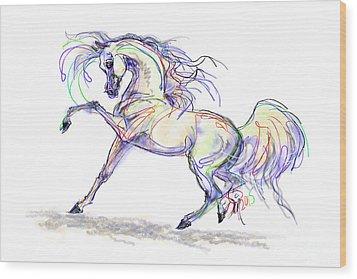 Arabian Stallion Talk Wood Print