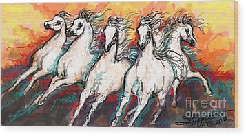 Arabian Sunset Horses Wood Print by Stacey Mayer
