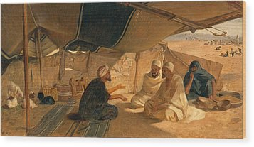 Arabs In The Desert Wood Print by Frederick Goodall