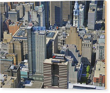Wood Print featuring the photograph Aramark Psfs Buildings 1101 Market St Philadelphia Pa 19107 2926 by Duncan Pearson