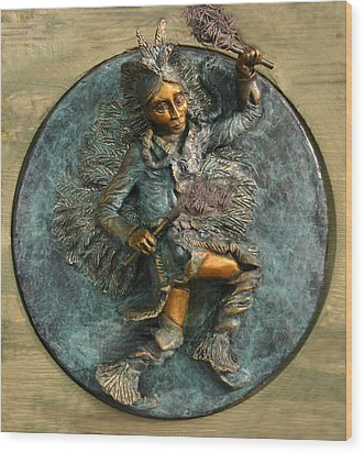 Wood Print featuring the relief Arapaho Dancer From Snowy Range Life  by Dawn Senior-Trask