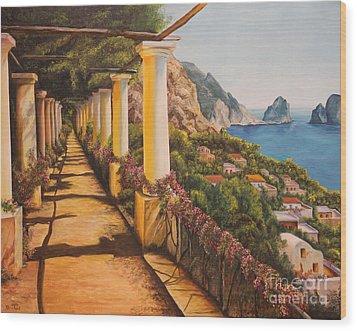 Arbor Walk In Capri Wood Print by Charlotte Blanchard