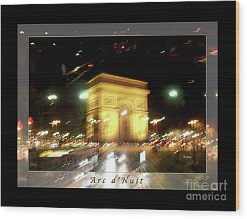 Arc De Triomphe By Bus Tour Greeting Card Poster V1 Wood Print by Felipe Adan Lerma