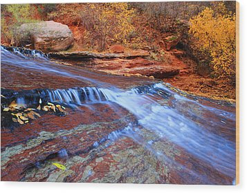 Arch Angel Falls In Zion Wood Print by Pierre Leclerc Photography