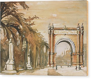 Wood Print featuring the painting Arch- Barcelona, Spain by Ryan Fox