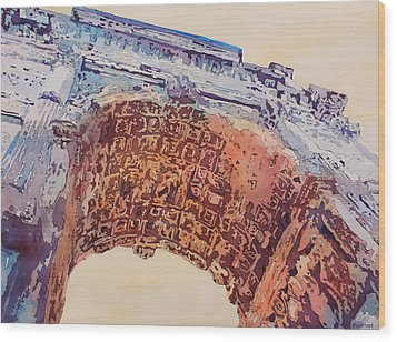 Arch Of Titus Two Wood Print by Jenny Armitage