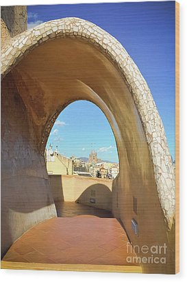 Wood Print featuring the photograph Arch On The Rooftop Of The Casa Mila by Colleen Kammerer