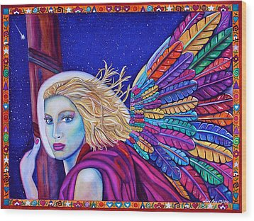Wood Print featuring the painting Archangel Ariel by Lori Miller