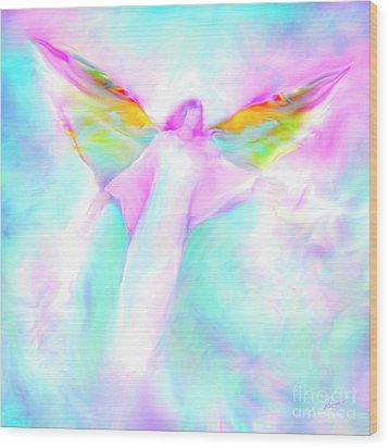 Archangel Gabriel In Flight Wood Print by Glenyss Bourne