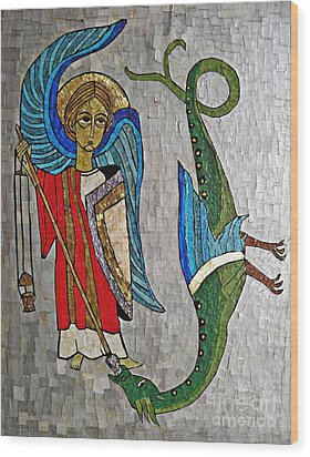 Archangel Michael And The Dragon    Wood Print by Sarah Loft