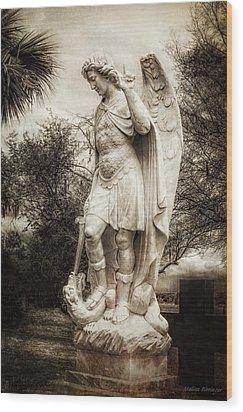 Archangel Michael Slaying Dragon Wood Print