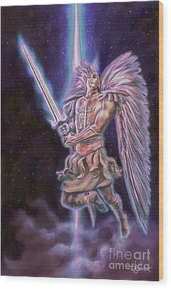 Wood Print featuring the painting Archangel Michael - Starstuff by Dave Luebbert