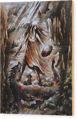 Archangel Wood Print by Rachel Christine Nowicki