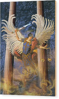 Wood Print featuring the painting Archangel Raguel by Steve Roberts