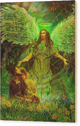 Wood Print featuring the painting Archangel Raphael by Steve Roberts