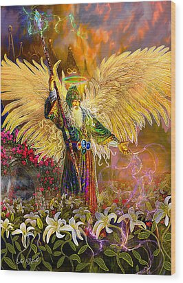 Wood Print featuring the painting Archangel Raziel-angel Tarot Card by Steve Roberts
