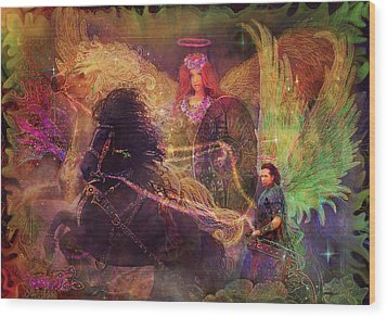 Archangels Ariel And Metatron Wood Print by Steve Roberts